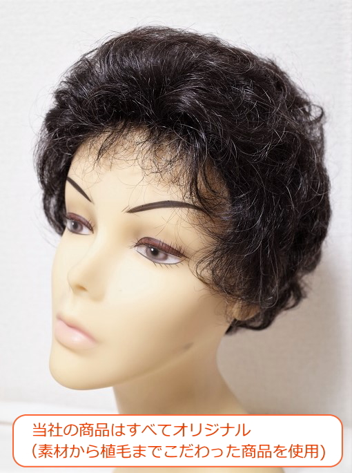 フルウィッグ 人工毛 ミセス・シニア向け 総手植え製 ショートカール 白髪入り n600s 医療用にも最適