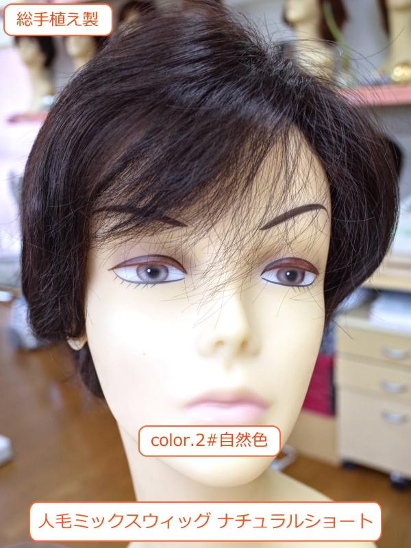 人毛ミックスウィッグ MIX 左分けナチュラルショート総手植え製 医療用にも最適 sc100