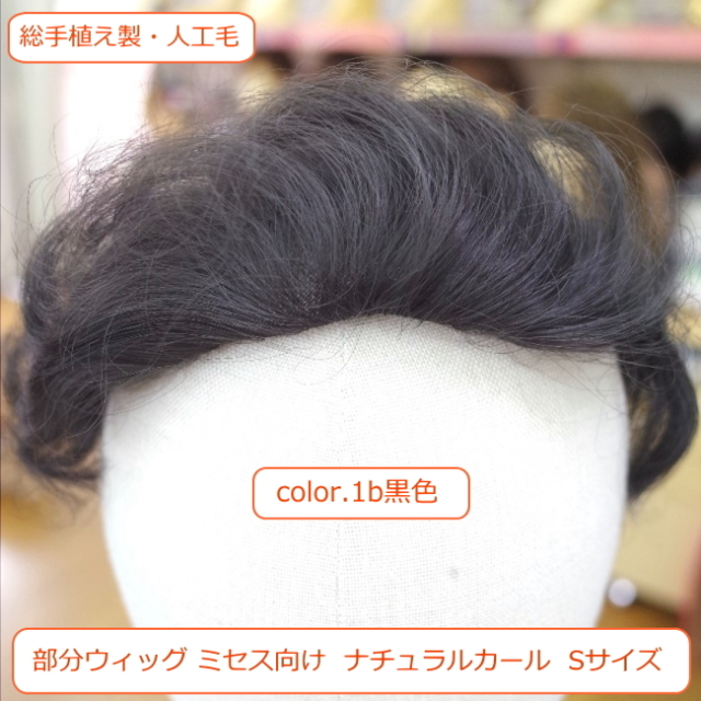 部分ウィッグ かつら ミセス向けナチュラルストレート Sサイズ総手植え製 耐熱人工毛 top-100
