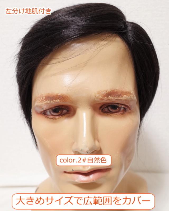 男性用メンズ部分ウィッグ人毛  左分け Lサイズ top-dx2t 医療用にも最適