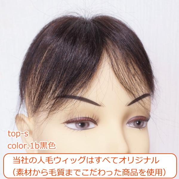 人毛部分ウィッグ ナチュラルストレートSサイズ 男女兼用 医療用にも最適 top-s