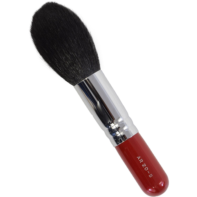 【ネコポス対応可能】赤軸ショートタイプ ARRS20-5 パウダーブラシ 山羊毛100%  化粧筆 プロ仕様 メイクブラシ