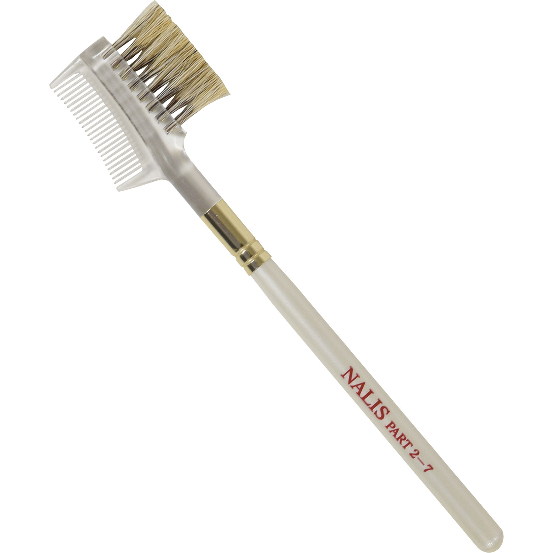 【ネコポス対応可能】NALIS2-7 アイブロウブラシ&コーム 狸染馬毛 上品なパールホワイト さくら筆 熊野筆