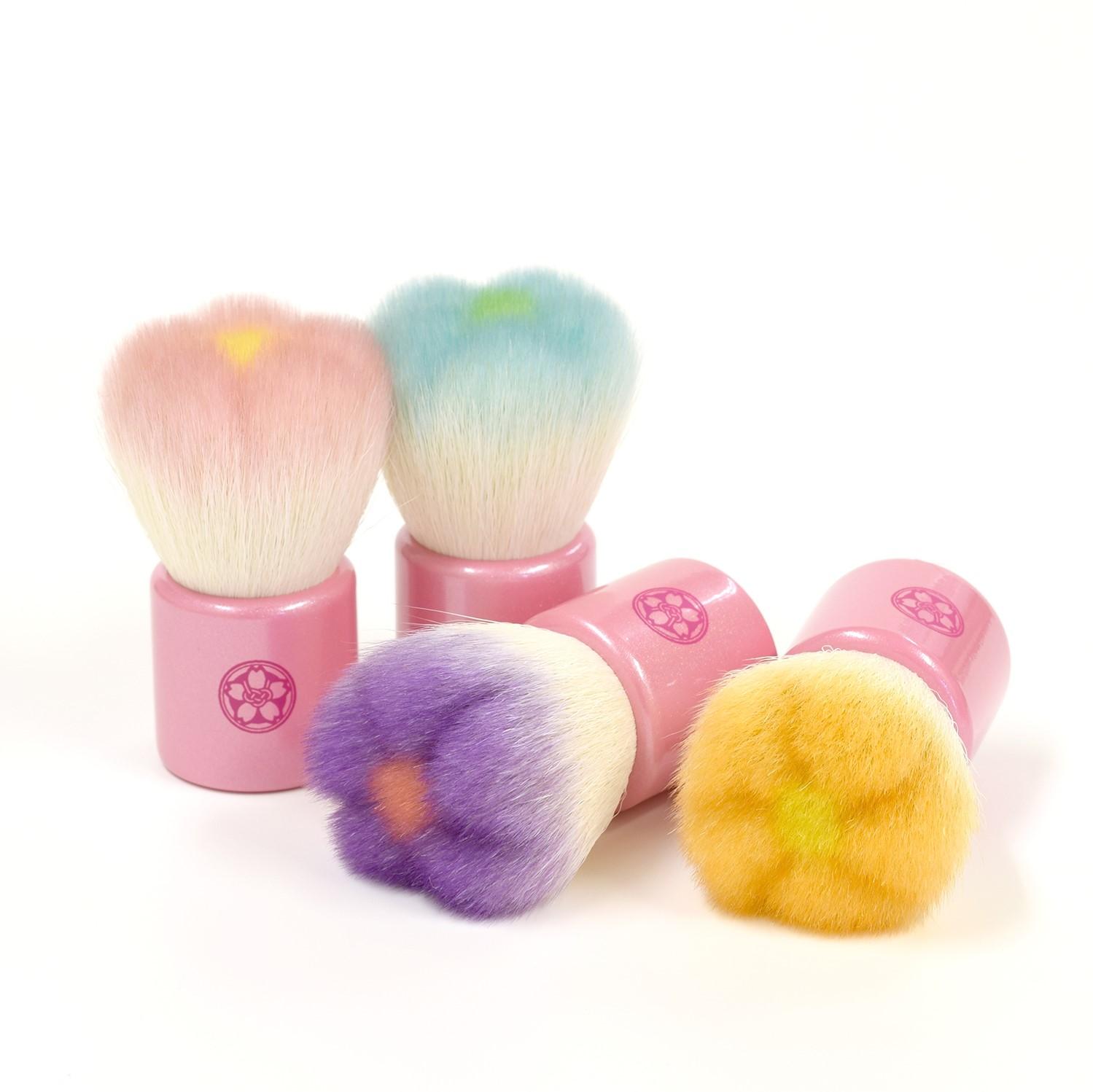 fws 熊野筆 フラワー洗顔ブラシ (ピンク/ブルー/オレンジ/パープル) 山羊毛/PBT混毛