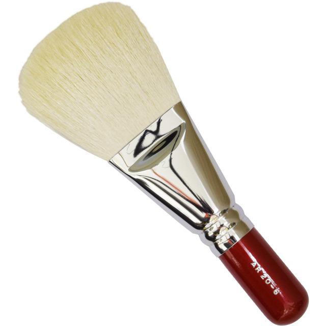 【ネコポス対応可能】赤軸ショートタイプ ARRS20-6 フィニッシュブラシ 白山羊毛100%  化粧筆 プロ仕様 メイクブラシ さくら筆 熊野筆