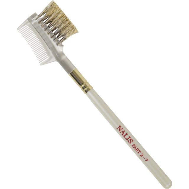 【ネコポス対応可能】NALIS2-7 アイブロウブラシ&コーム 狸染馬毛 上品なパールホワイト 熊野筆