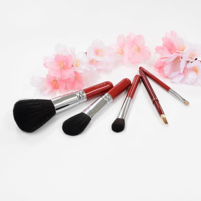 【送料無料】花染衣桜 メイクブラシセット (化粧筆 5本入り) 【ギフトボックス付き】熨斗対応可能 さくら筆 熊野筆