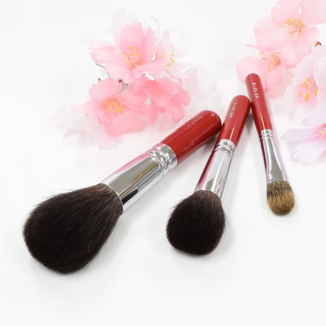 【送料無料】菊桜 メイクブラシセット (化粧筆 3本入り) 【ギフトボックス付き】熨斗対応可能 さくら筆 熊野筆