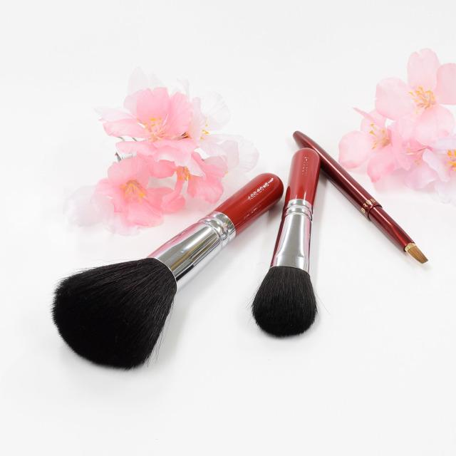 【送料無料】琴桜 メイクブラシセット (化粧筆 3本入り) 【ギフトボックス付き】熨斗対応可能 さくら筆 熊野筆