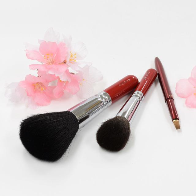 【送料無料】松月桜 メイクブラシセット (化粧筆 3本入り) 【ギフトボックス付き】熨斗対応可能 さくら筆 熊野筆