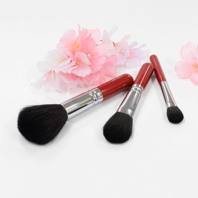 【送料無料】八重桜 メイクブラシセット (化粧筆 3本入り) 【ギフトボックス付き】熨斗対応可能 さくら筆 熊野筆