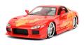 お取り寄せ予約品 10月頃 ミニカー ジャダトイズ JADATOYS ダイキャストモデル 1/24 JADA30747 映画「ワイルドスピード(F&F)」劇中車 マツダ RX-7 オレンジ (オレンジ・ジュリウス) 4548565393435