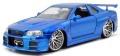 お取り寄せ予約品 10月頃 ミニカー ジャダトイズ JADATOYS ダイキャストモデル 1/24 JADA97173 映画「ワイルドスピード(F&F)」劇中車 ニッサン スカイライン GT-R (R34) ブルー (ブライアン・オコナー) 4548565393442
