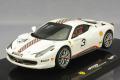 ミニカー マテル MATTEL 1/43  MT5505X フェラーリ 458 イタリア チャレンジ No.5 ホワイト