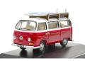 ミニカー オックスフォード Oxford 1/76 OX76VW024 VW Bay Window バス サーフボード付(モンタナレッド/ホワイト)