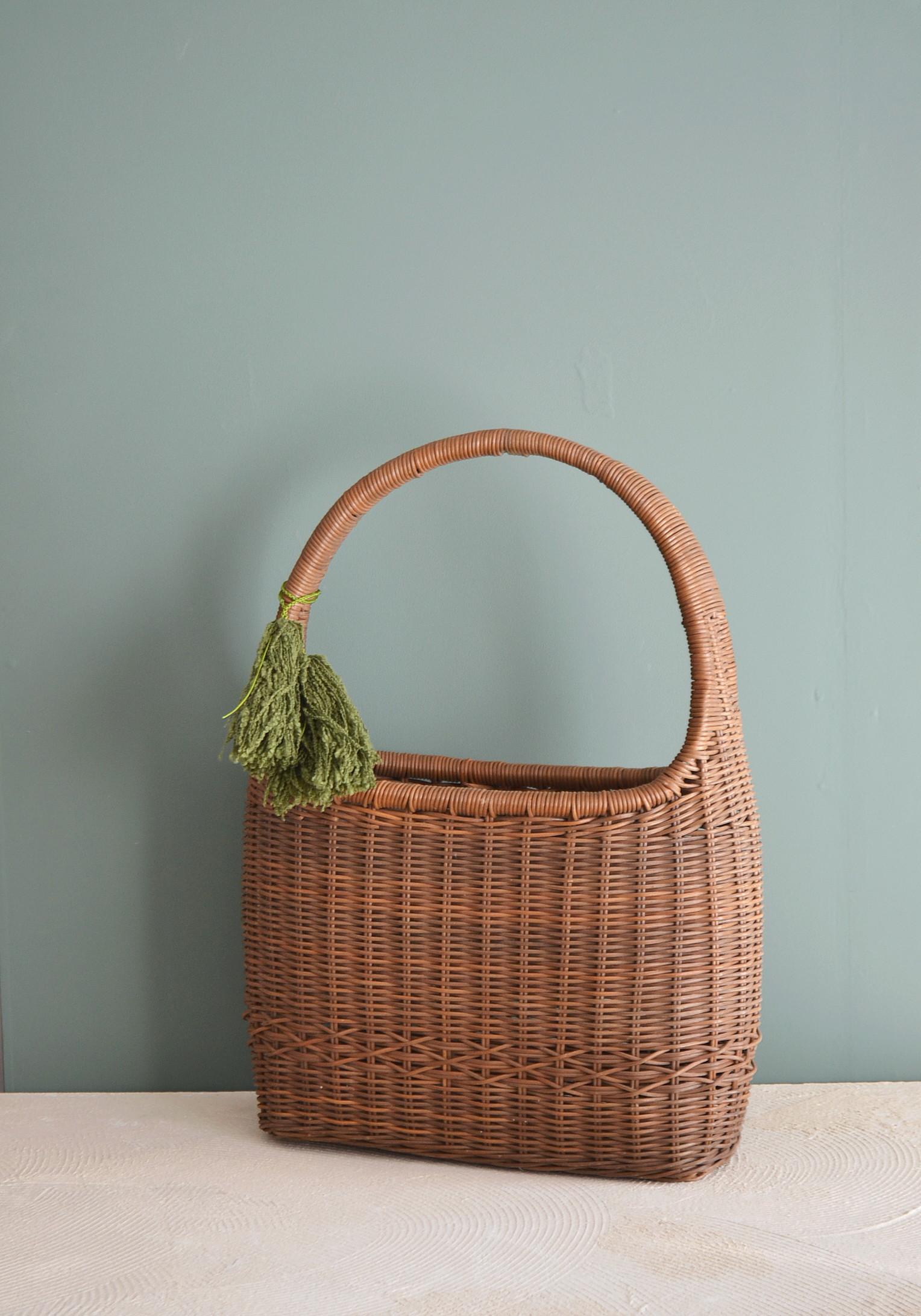 籠 バッグ タッセル付き 籐のバッグ 昭和レトロ