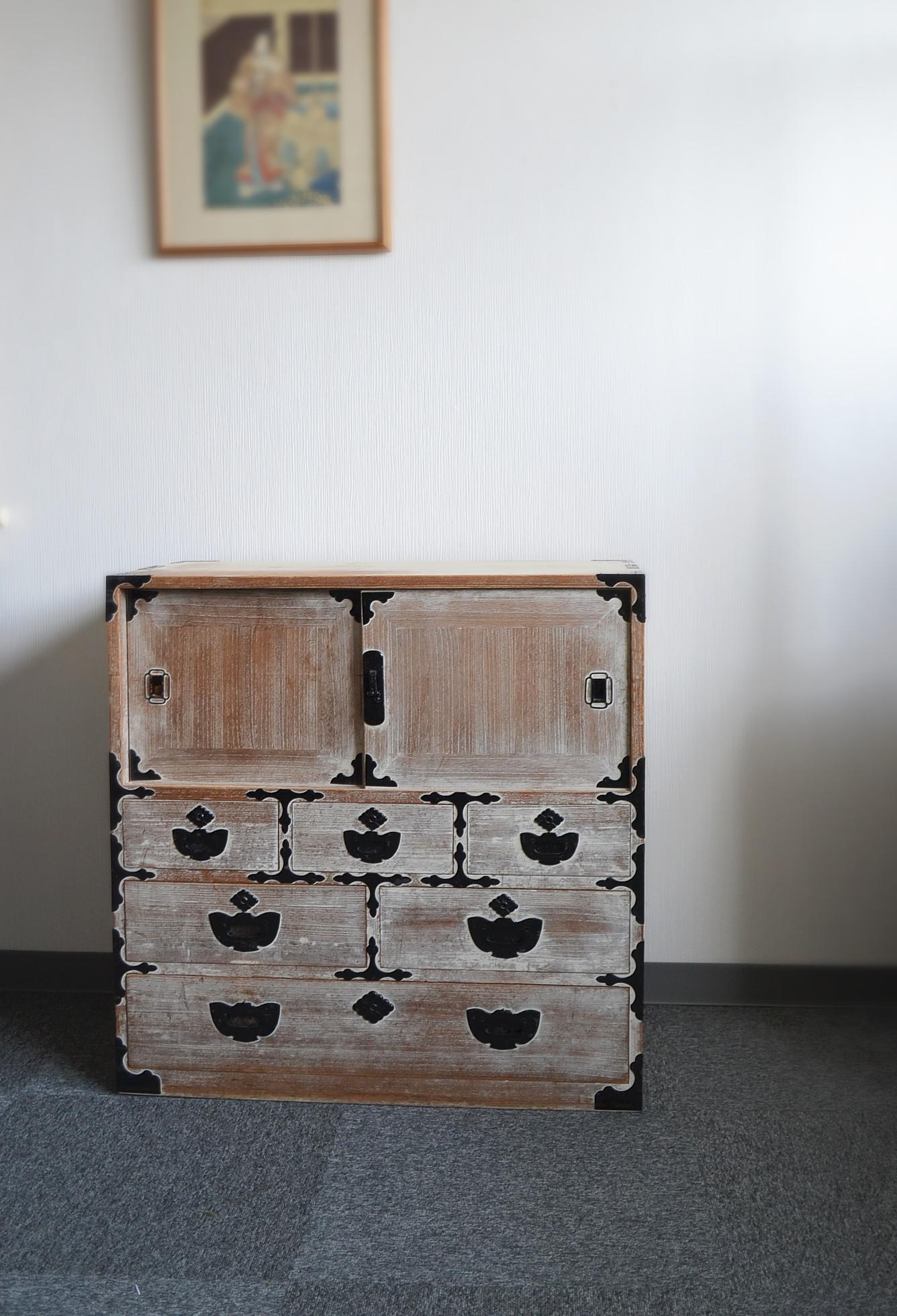 桐箪笥 小箪笥 整理箪笥 幅790mm ふくら雀金具