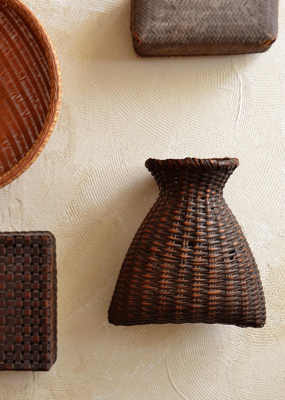 古い籠 魚籠 花籠 花器