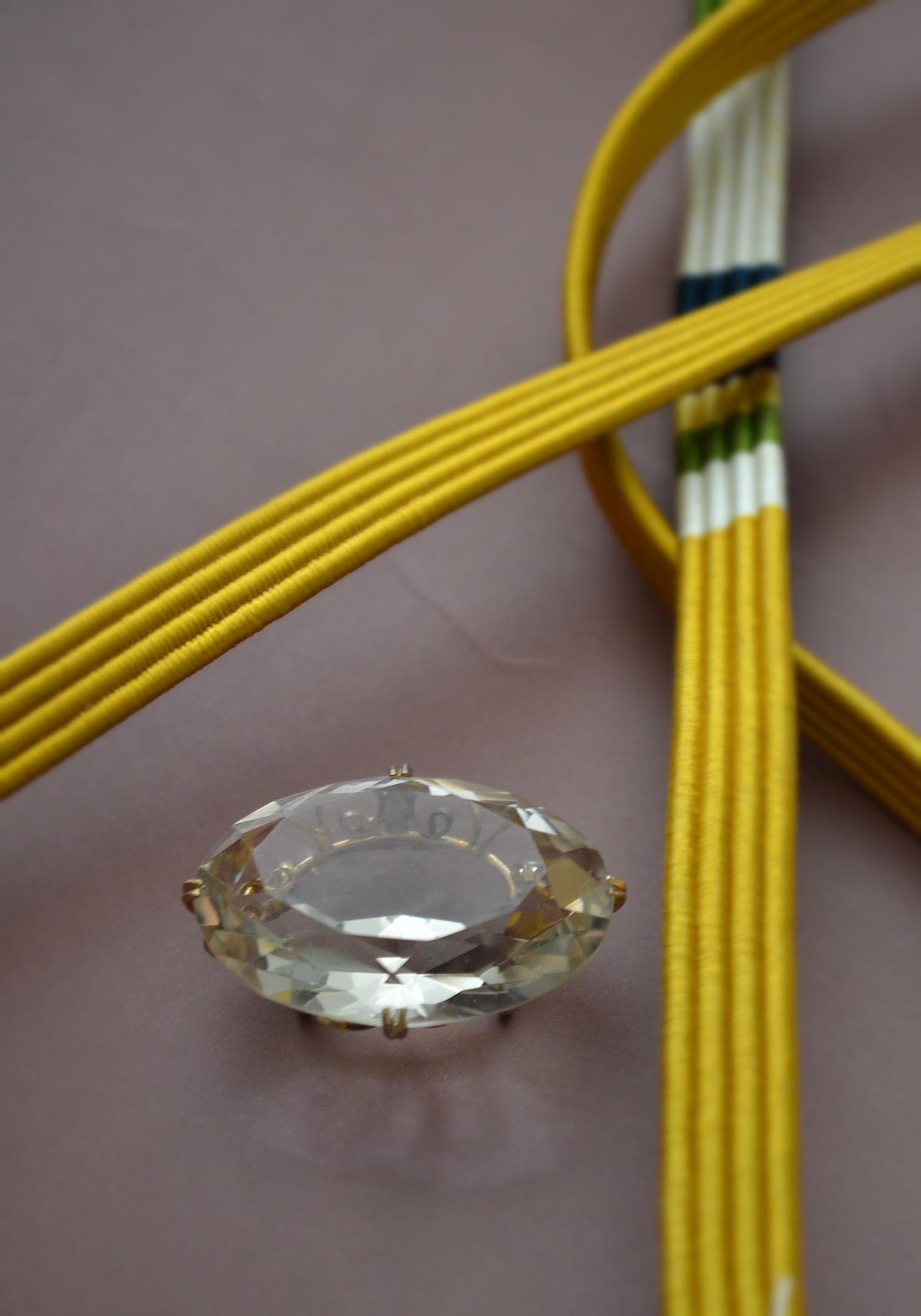 水晶帯留め K18台 アンティーク 和装小物