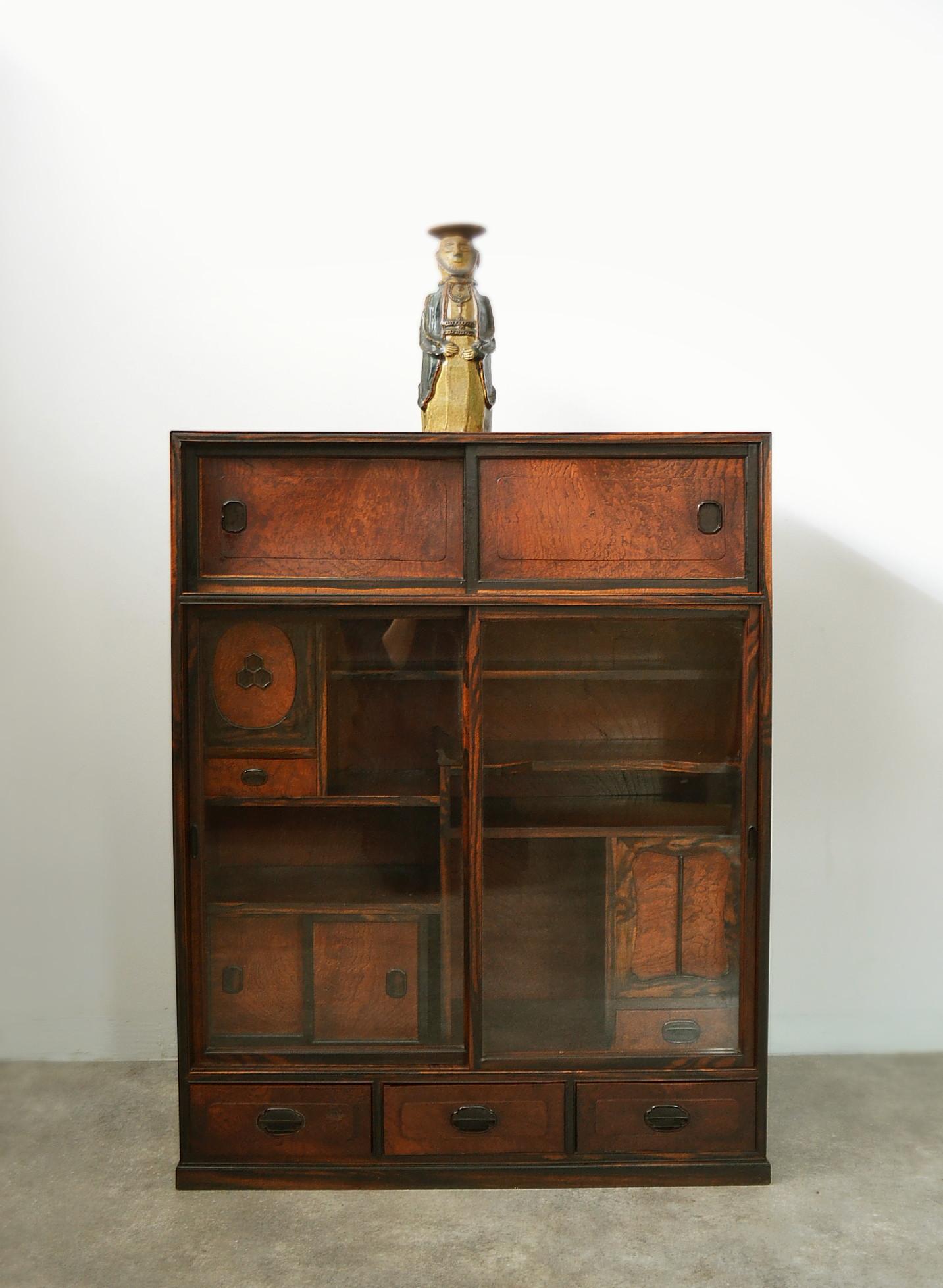 欅と黒柿の茶箪笥 和箪笥 和家具