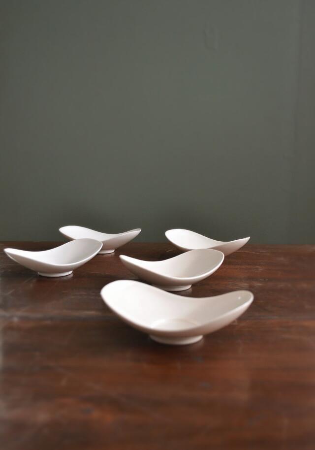 白磁ソーサー 白磁茶托 白磁皿 モダン小皿 5枚組