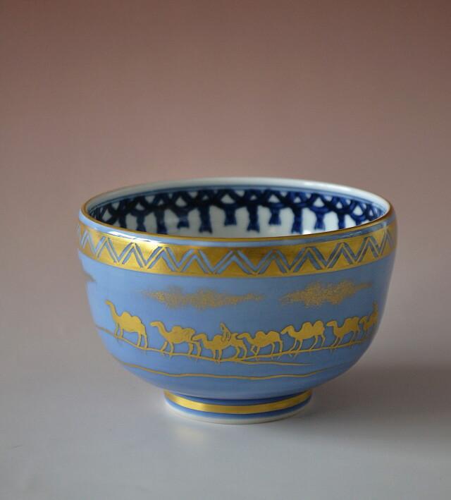 五山窯 林淡幽作 藍彩金襴手茶碗