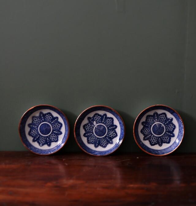 染付け印判小皿 3枚組 128mm
