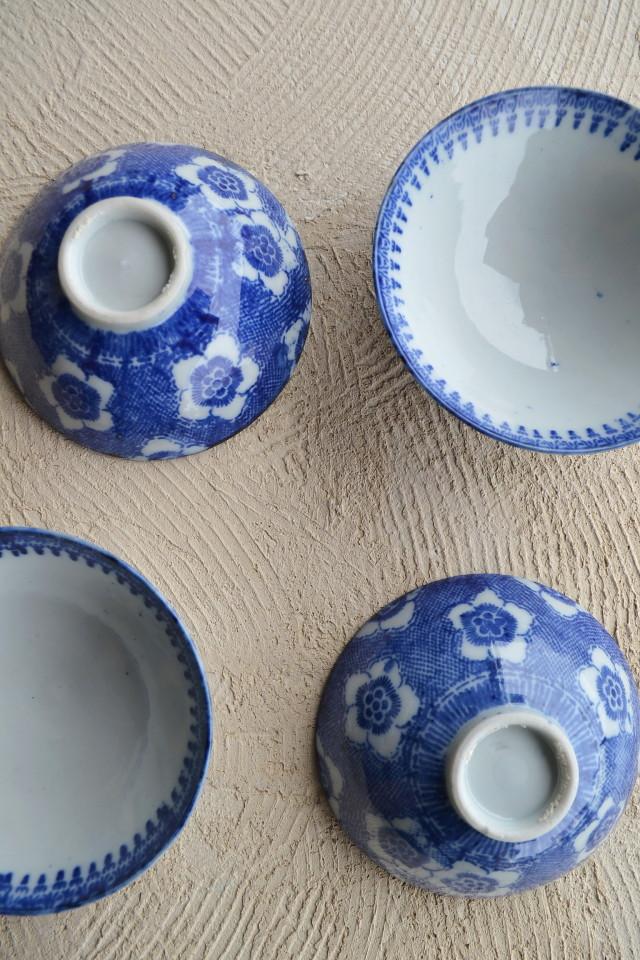 染付印判梅紋ごはん茶碗 取り皿