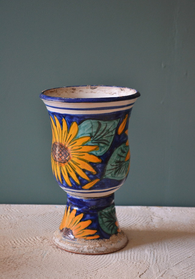 ひまわり柄の植木鉢