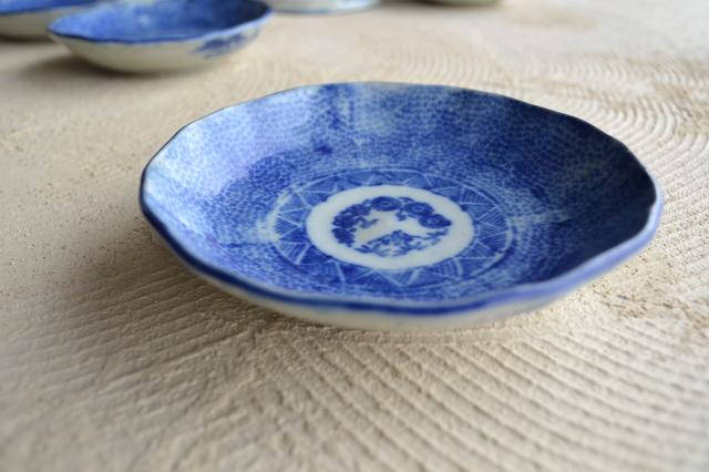 印判みじん唐草膾皿 なます皿 五枚組