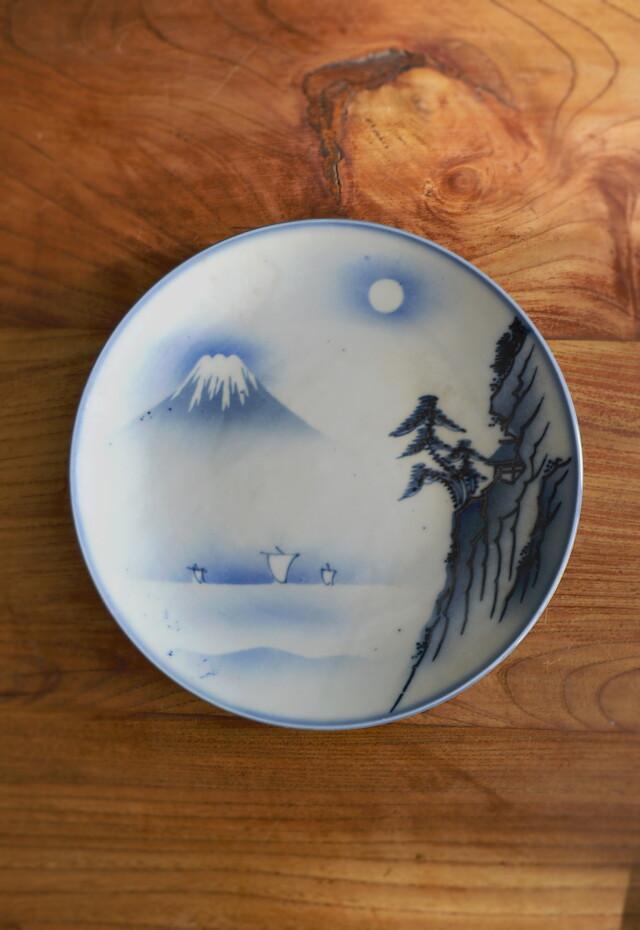 染付富士山図風景皿