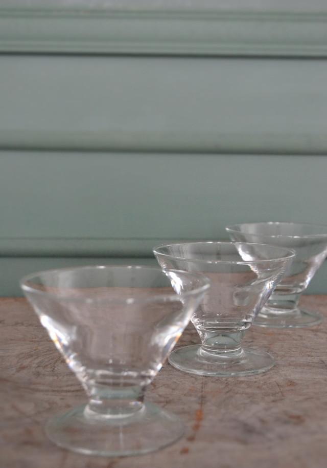 ガラス氷コップ フランス製 三客セット
