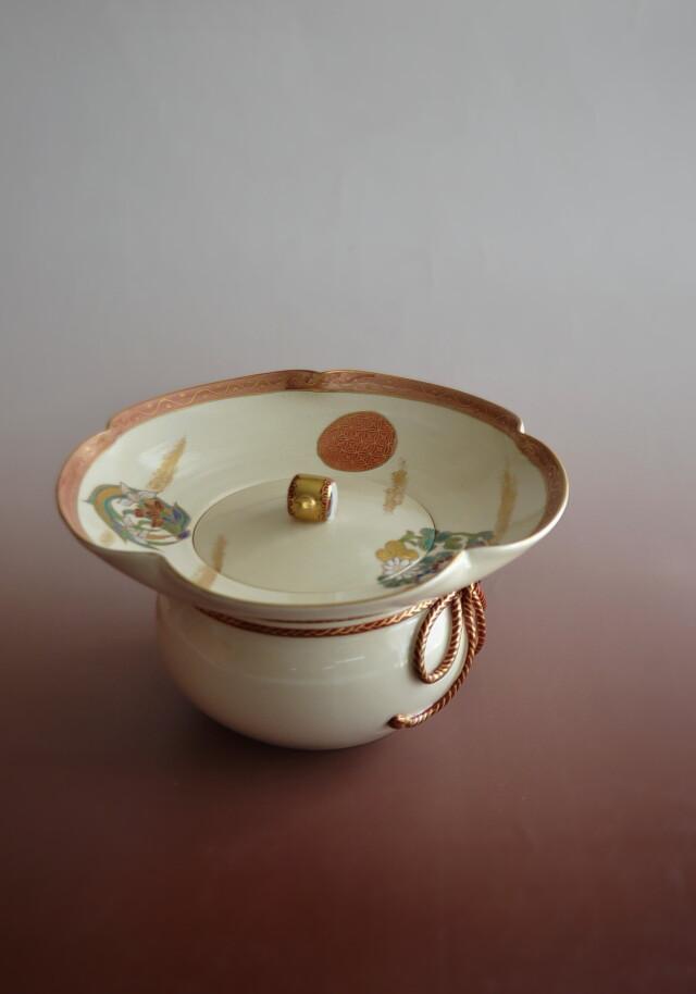 橋本永豊 色絵花丸紋砂金袋水指 茶道具