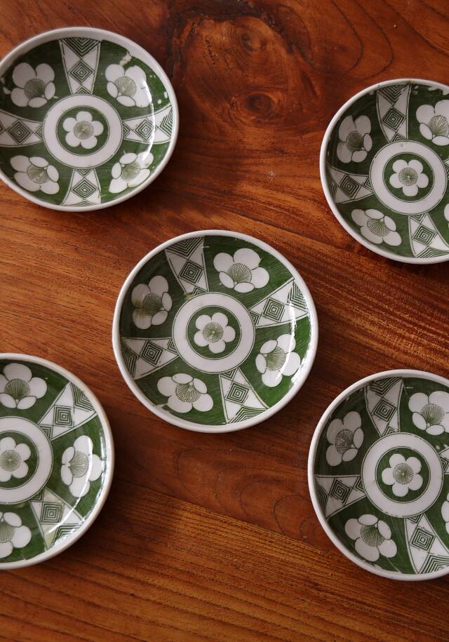 印判緑釉小皿梅紋 五枚組