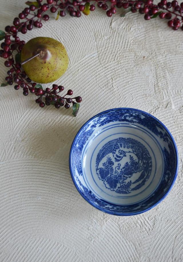 染付印判 桐・鳳凰紋平鉢180mm 菓子器 アンティーク和食器