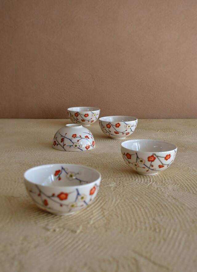 昭和レトロ 梅紋 小茶碗 5客セット 煎茶碗