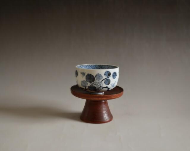 紫陽花紋染付コロ茶碗