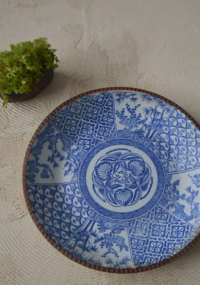 染付印判大皿 イゲ皿 直径約320mmm 松竹梅紋