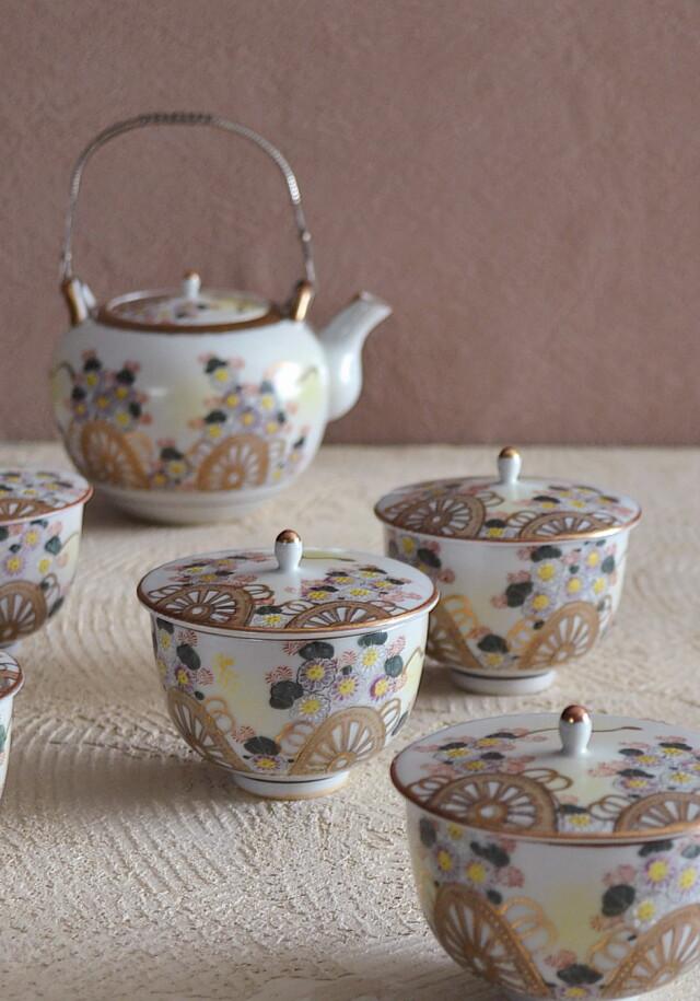 九谷煎茶セット 急須 蓋付煎茶碗×5客 御所車紋