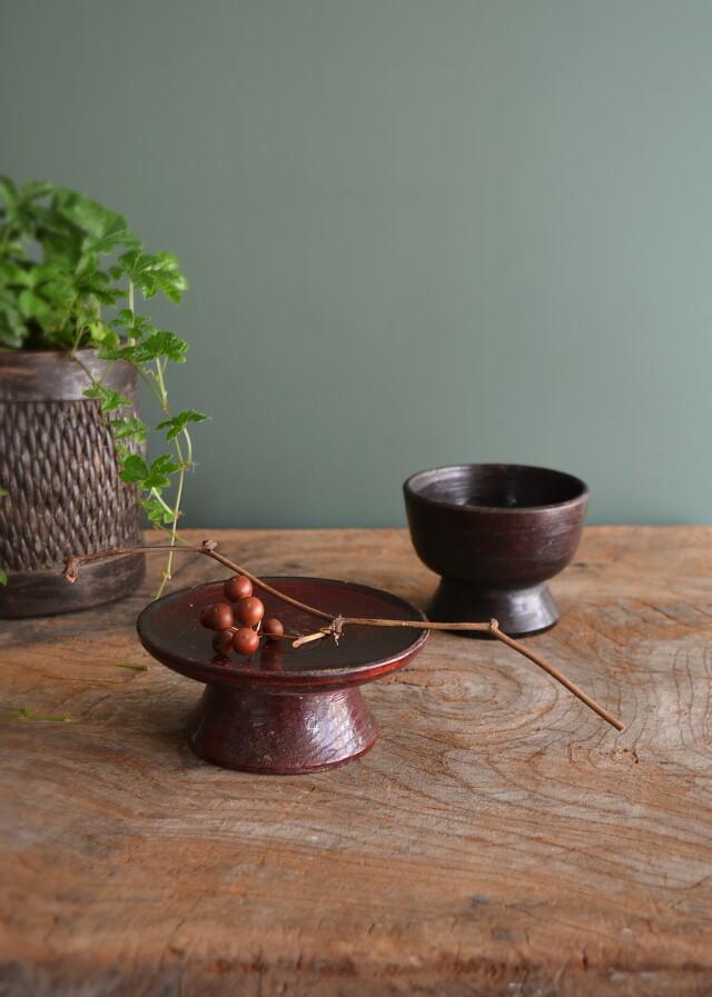 李朝 木台・木碗セット  祭器 高月 菓子皿 木杯