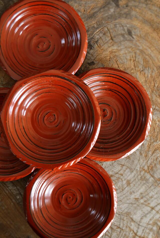 裏木曾塗 茶托 小皿 漆器 根来