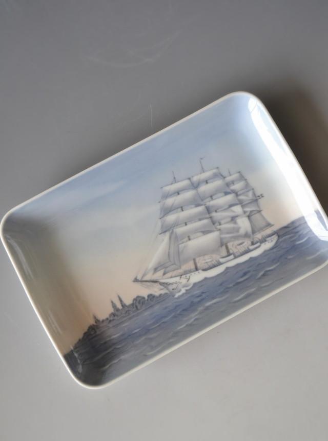北欧デンマークBing & Grondah帆船図プレート