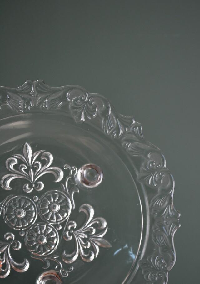 昭和レトロ三つ足ガラスプレート ガラスボウル