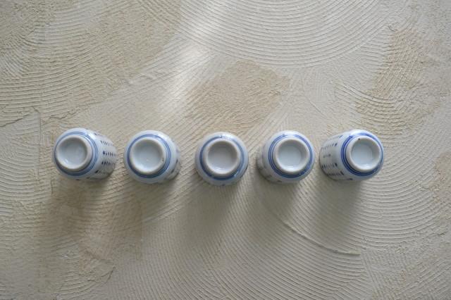 印判漢詩紋湯呑茶碗 のぞき猪口 5客組 未使用品