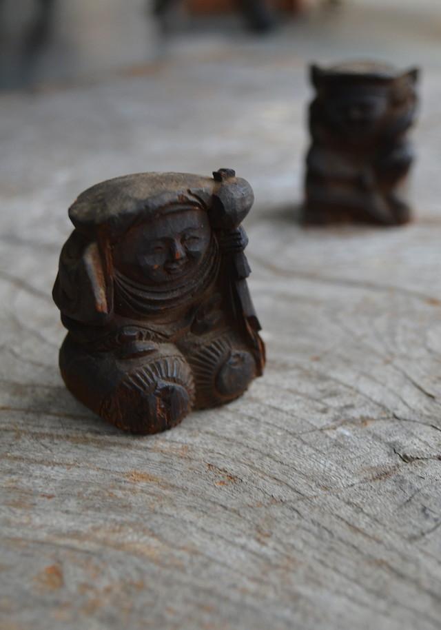 小さな恵比寿大黒木彫造一対