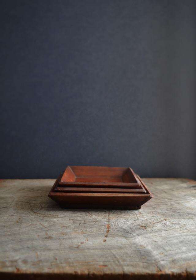 李朝三組木皿 祭器