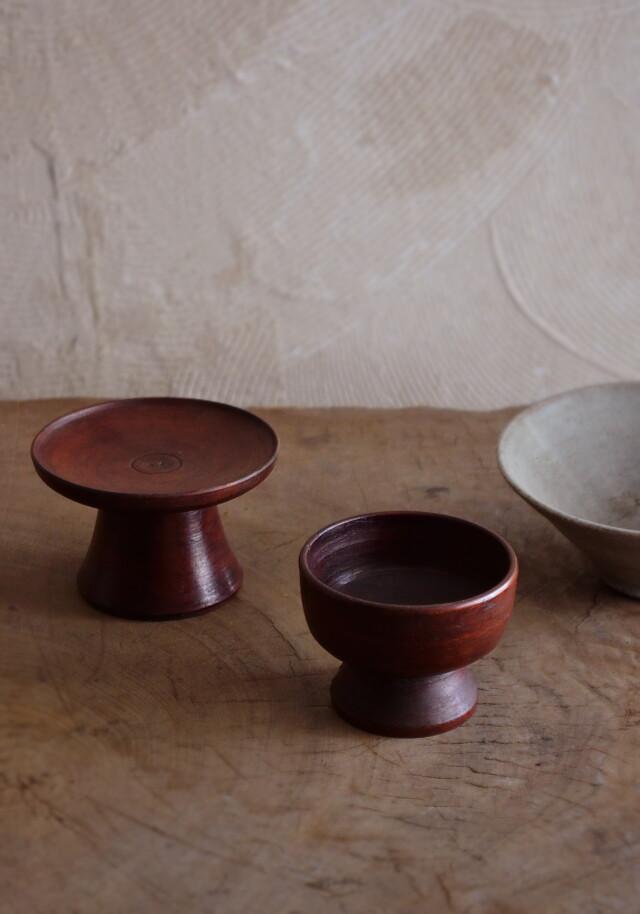 李朝 木台・木盃(木杯)セット  祭器 高坏 菓子皿 木碗