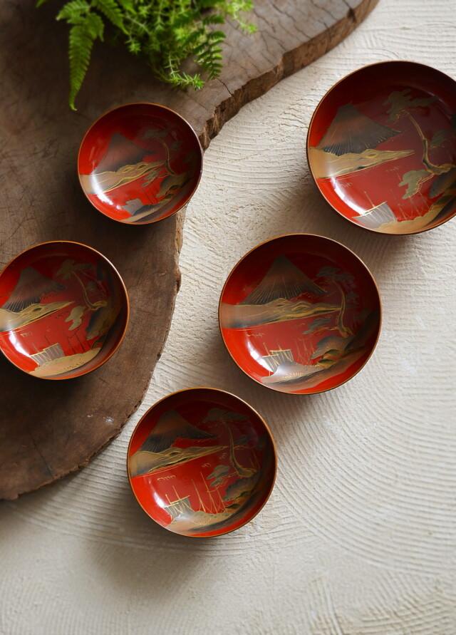 朱塗富士図蒔絵入子皿 椀 漆器