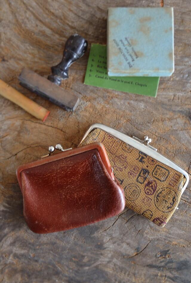 古い印伝と皮のがま口ケース 古道具 コインケース 判子入れ