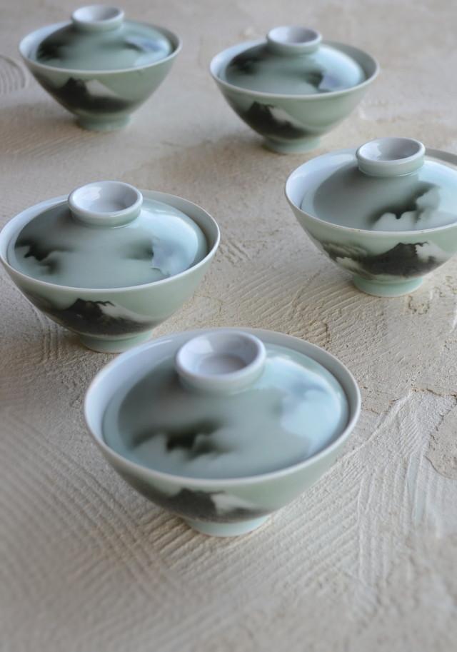 富士山青磁蓋付茶碗 五客組